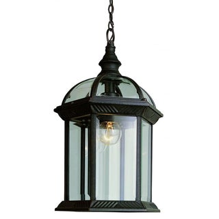 Cambridge 1-Light Black 17.5 in. Outdoor Hanging Lantern with Beveled Glass