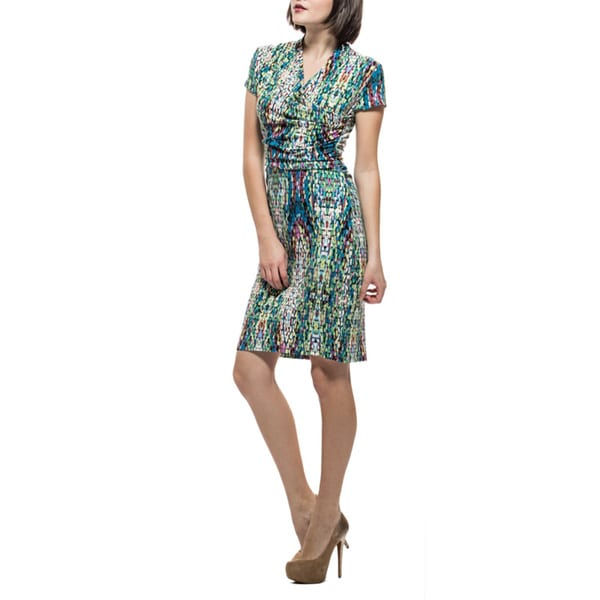 Amelia Mosaic Asymmetrical Knit Print Dress