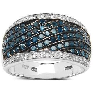 Malaika Sterling Silver 4/5ct TDW Blue and White Diamond Ring (I-J, I1-I2)