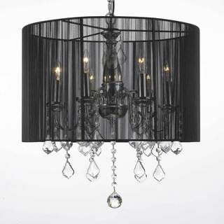 Contemporary 6-light Chandelier with Crystals and Large Black Shade