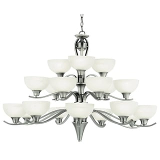 Cambridge 18-Light Brushed Nickel 42 in. Chandelier with White Glass