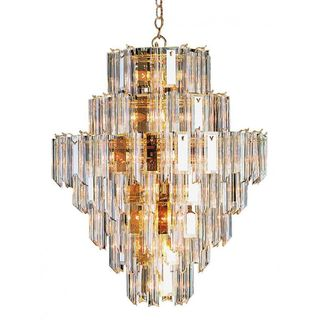 Cambridge 26-Light Polished Brass 28 in. Chandelier with Clear Beveled Acrylic