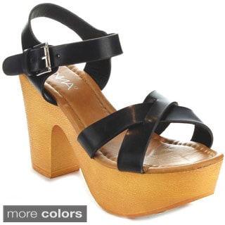 Anna Miley-1 Women's Criss Cross Platform Sandals