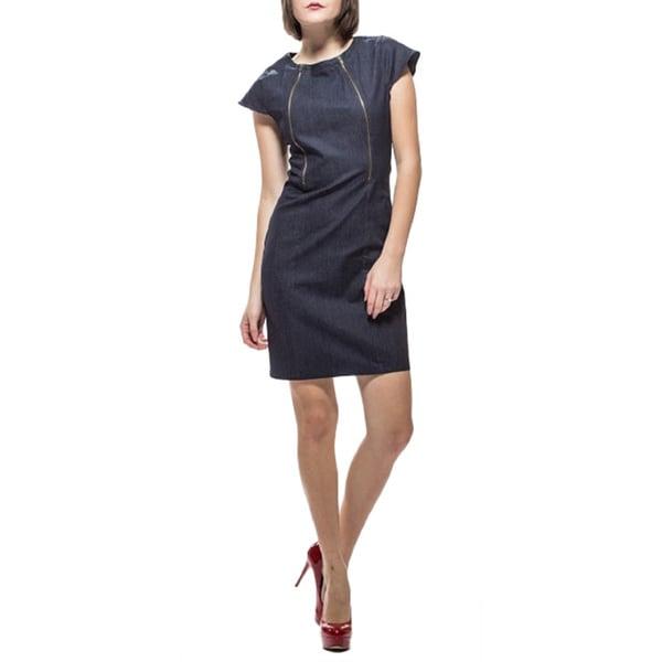 Amelia Denim Novelty Antique Zipper Sheath Dress