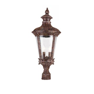 Cambridge 2-Light Rust 10.75 in. Outdoor Post Head with Seeded Clear Glass