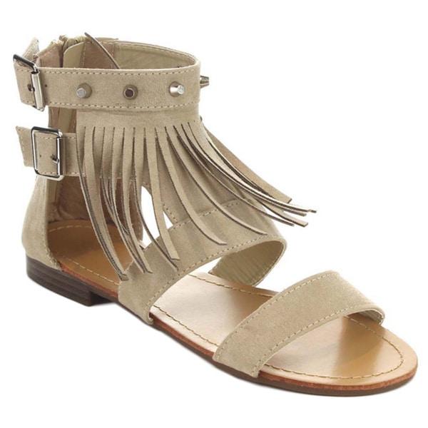 Bella Marie Tevo-2 Women's Fringe Studed Round Toe Flat Sandals