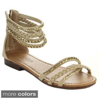 Bella Marie Tevo-1 Women's Metal Chain Accent Flat Sandals