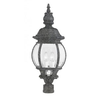 Cambridge Swedish Iron Finish Outdoor Post Head With A Beveled Shade