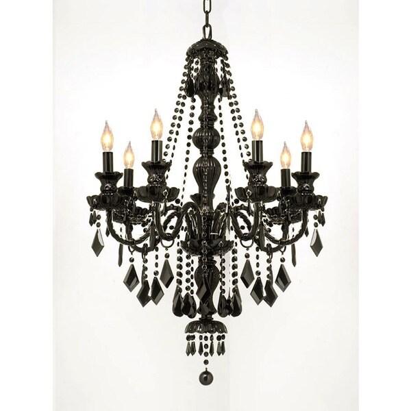 crystal jet black 7-light chandelier pendant - 17179991 - overstock com shopping
