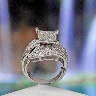Sterling Silver 3/4ct TDW Diamond Square Setting Ring (G-H, I2-I3)