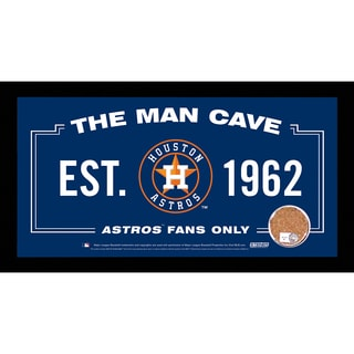 Houston Astros Man Cave Sign 6x12 Framed Photo With Authentic Game-Used Dirt (MLB Authenticated)