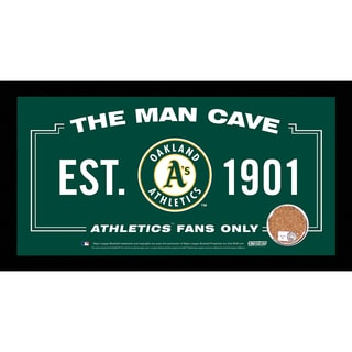 Oakland Athletics Man Cave Sign 6x12 Framed Photo With Authentic Game-Used Dirt (MLB Authenticated)