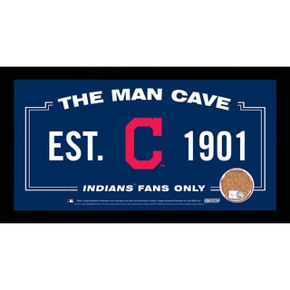 Cleveland Indians Man Cave Sign 6x12 Framed Photo With Authentic Game-Used Dirt (MLB Authenticated)
