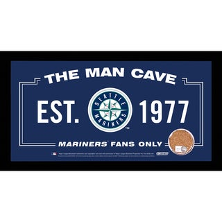 Seattle Mariners Man Cave Sign 6x12 Framed Photo With Authentic Game-Used Dirt Capsule (MLB Auth)