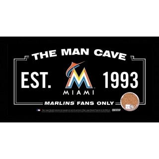 Miami Marlins Man Cave Sign 6x12 Framed Photo With Authentic Game-Used Dirt Capsule (MLB Auth)