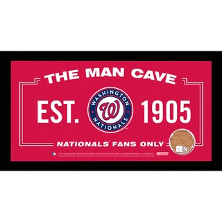 Washington Nationals Man Cave Sign 6x12 Framed Photo With Authentic Game-Used Dirt Capsule (MLB Auth)
