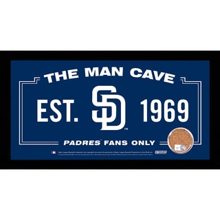 San Diego Padres Man Cave Sign 6x12 Framed Photo With Authentic Game-Used Dirt Capsule (MLB Auth)