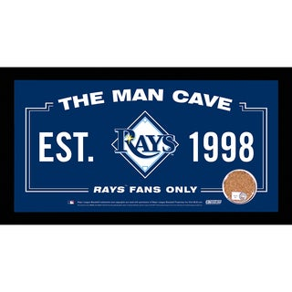 Tampa Bay Rays Man Cave Sign 6x12 Framed Photo With Authentic Game-Used Dirt Capsule (MLB Auth)