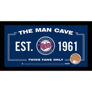 Minnesota Twins Man Cave Sign 6x12 Framed Photo With Authentic Game-Used Dirt Capsule (MLB Auth)
