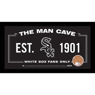 Chicago White Sox Man Cave Sign 6x12 Framed Photo With Authentic Game-Used Dirt Capsule (MLB Auth)