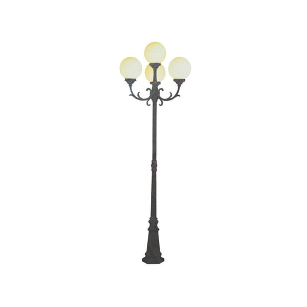 Cambridge 4-Light Black Copper 29 in. Lamp Post with Opal Polycarbonate