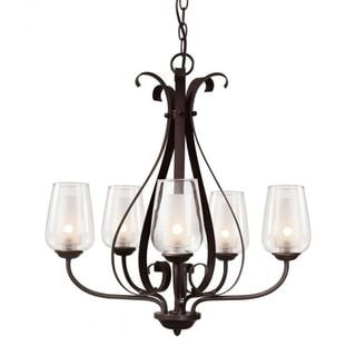 Cambridge 5-Light Rubbed Oil Bronze 26.25 in. Chandelier with Frosted/Clear Glass