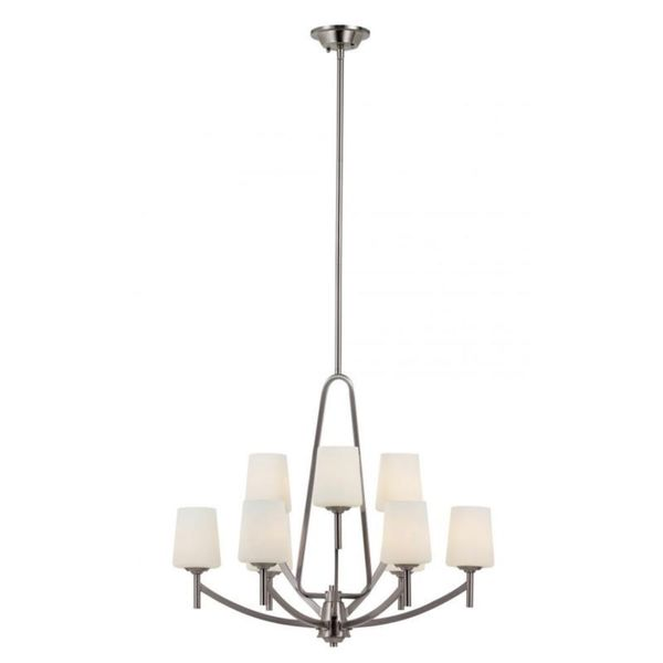 Cambridge 9-Light Brushed Nickel 28.25 in. Chandelier with White Glass