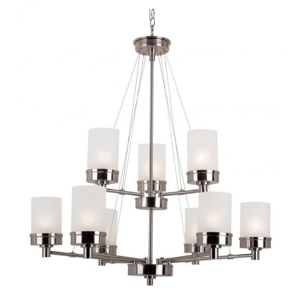Cambridge 9-Light Brushed Nickel 32 in. Chandelier with White Glass