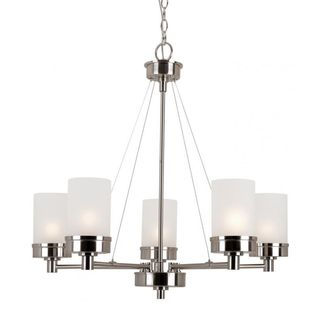 Cambridge 5-Light Brushed Nickel 28 in. Chandelier with White Glass