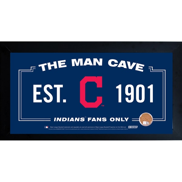 Cleveland Indians Man Cave Framed 10x20 Sign w/ Authentic Game-Used Dirt Capsule (MLB Auth) 15153169