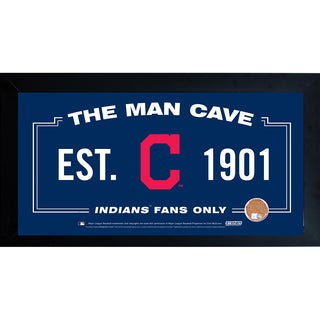 Cleveland Indians Man Cave Framed 10x20 Sign w/ Authentic Game-Used Dirt Capsule (MLB Auth)