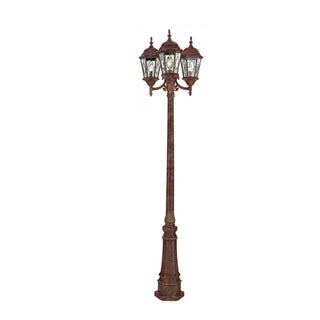 Cambridge 3-Light Rust 23 in. Lamp Post with Beveled Glass