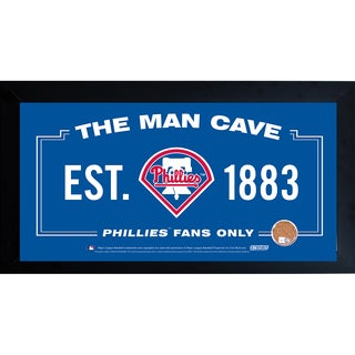 Philadelphia Phillies Man Cave Framed 10x20 Sign w/ Authentic Game-Used Dirt Capsule (MLB Auth)