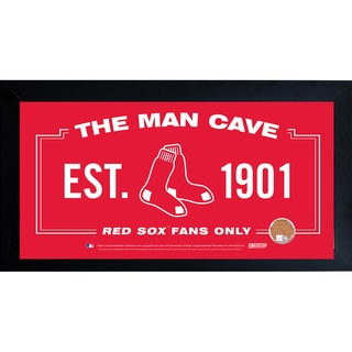 Red Sox Man Cave 10x20 Framed 10x20 Sign w/ Authentic Game-Used Dirt Capsule (MLB Auth)