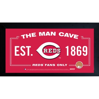 Cincinnati Reds Man Cave Framed 10x20 Sign w/ Authentic Game-Used Dirt Capsule (MLB Auth)