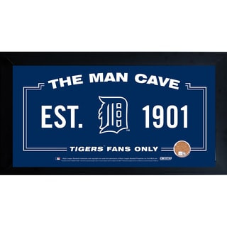 Detroit Tigers Man Cave Framed 10x20 Sign w/ Authentic Game-Used Dirt Capsule (MLB Auth)