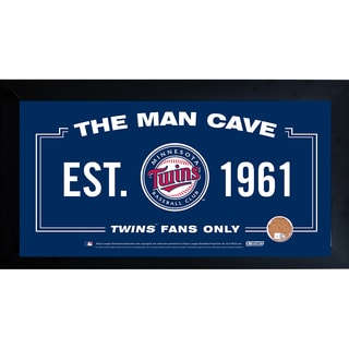 Minnesota Twins Man Cave Framed 10x20 Sign w/ Authentic Game-Used Dirt Capsule (MLB Auth)