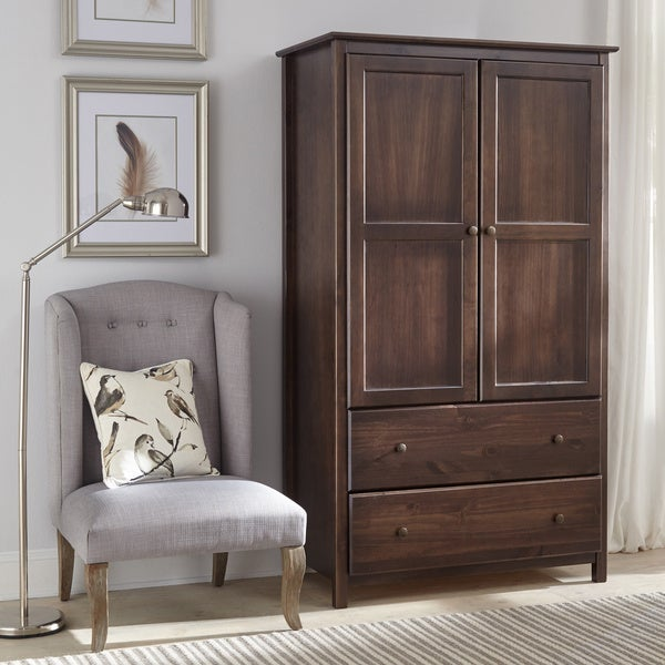 Espresso Finish Solid Pine Wood 2-door Shaker Armoire