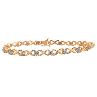 Rose-plated 1/10ct TDW Diamond Bracelet (H-I, I3)