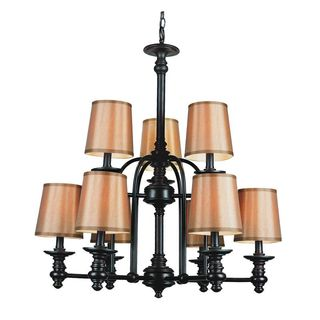 Cambridge 9-Light Rubbed Oil Bronze 29 in. Chandelier with Gold Fabric