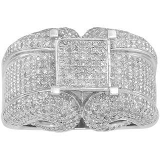 Sterling Silver 2ct TDW Micropave Diamond Engagement Ring (G-H, I2-I3)
