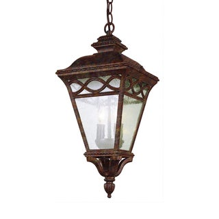 Cambridge 3-Light Rust 34 in. Outdoor Pendant with Seeded Glass