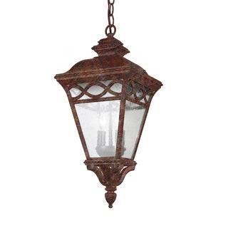 Cambridge 2-Light Rust 21 in. Outdoor Pendant with Seeded Glass