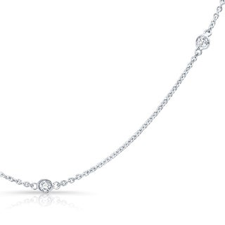 Platinum over Silver 1/2ct TDW Diamond Station Necklace (H-I, I1-I2)