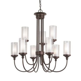 Cambridge 9-Light Rubbed Oil Bronze 29.25 in. Chandelier with Clear Glass