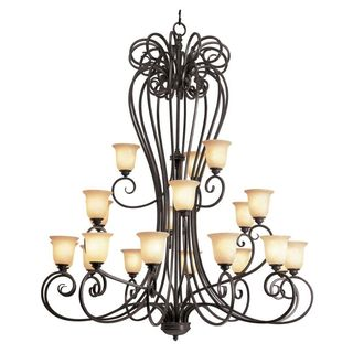 Cambridge 21-Light Burnished Rust 56 in. Chandelier with Beige Glass