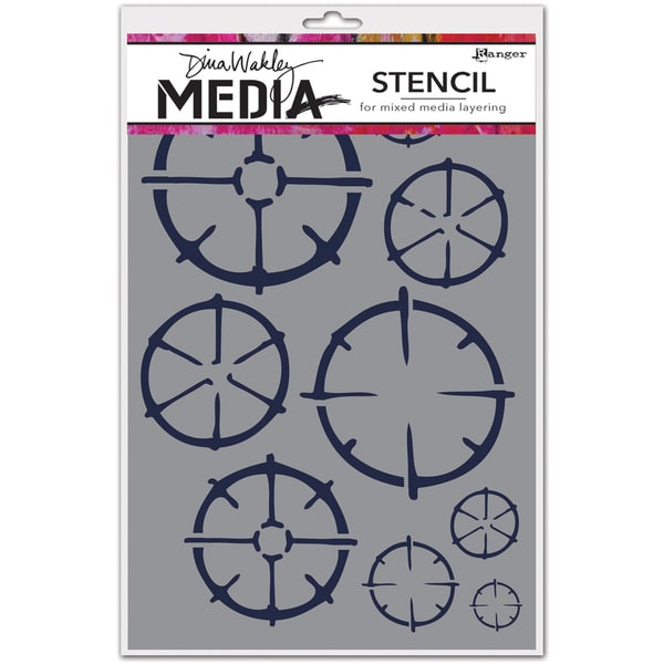 "Dina Wakley Media Stencils 6""X9""-Wheels"