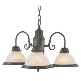 Cambridge 3-Light Brushed Nickel 19 in. Chandelier with Opal Glass