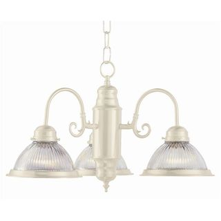 Cambridge 3-Light Antique White 21 in. Chandelier with Frosted Glass