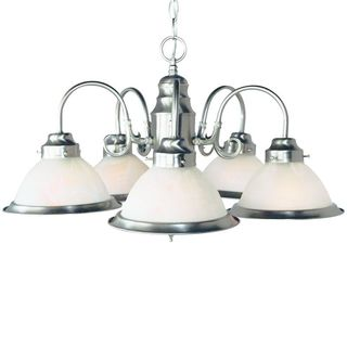 Cambridge 5-Light Brushed Nickel 23 in. Chandelier with Opal Glass
